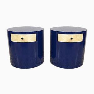 Tables de Chevet Mid-Century Moderne en Parchemin Bleues, 1970s, Set de 2