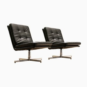 Black Leatherette & Chrome Swivel Armchairs, 1970s, Set of 2