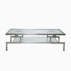 Nickel Plated Steel Coffee Table by Guy Lefevre for Jansen, 1970s