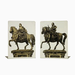 Glazed Metal Bookends by Atelier Fornasetti, 1960s, Set of 2