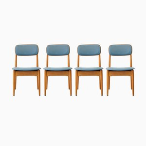 Wooden Chairs in Blue Leatherette from Fritz Emme, 1957, Set of 4