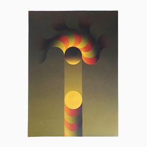 Op Art Pochoir Serigraphie von Julio Le Parc, 1980er