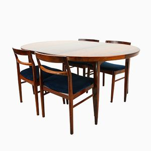 Rosewood Extending Table & 4 Chairs by Henning Kjaernulf for Vejle Stolefabrik, 1960s