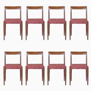 Palisander Esszimmer Stühle von Lübke, 1960er, 8er Set