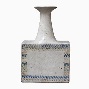 Vintage Ceramic Vase with Geometric Line Design by Bruno Gambone