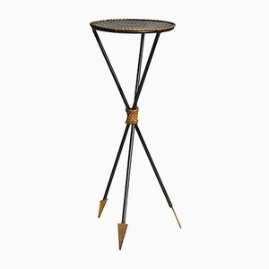 French Black and Gold Arrow Side Table, 1950s