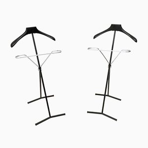 Ebonized Beech and Metal Coat Stands, 1950s, Set of 2