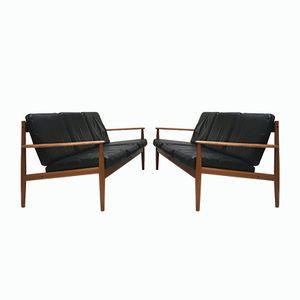 Modell 118 3-Sitzer Sofa aus Schwarzem Leder von Greta Jalk für France & Son, 1960er, 2er Set