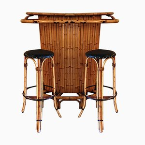 Vintage Bamboo Tiki Bar with 2 Stools, 1960s