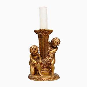 Neoklassizistischer Vintage Kerzenhalter mit Vergoldeter Säule