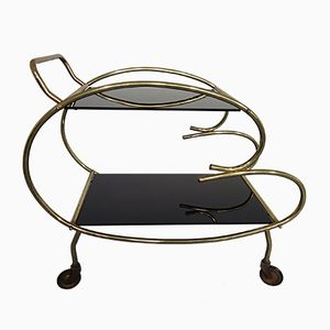 Italian Brass & Glass Serving Trolley, 1950s