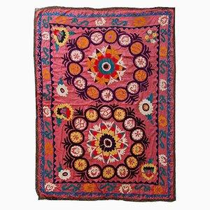 Vintage Handmade Uzbek Suzani Embroidered Rug, 1960s