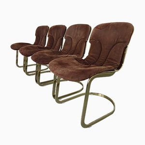 Italian Suede Leather Chairs by Willy Rizzo for Cidue, 1970s, Set of 4