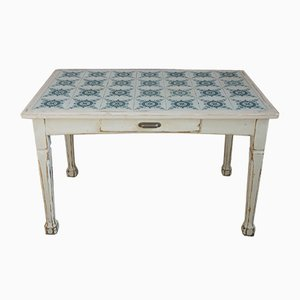 Belgian Art Nouveau Dining Table with Tiles, 1900s