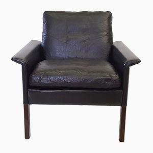 Mid-Century D500 Armchair in Black Leather by Hans Olsen