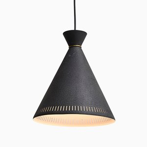 Black Pendant Lamp with Brass Ring by Svend Aage Holm Sørensen for Holm Sørensen & Co, 1950s