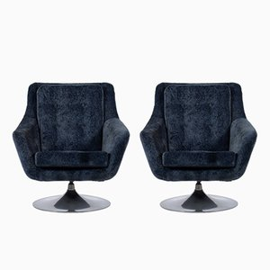 Mid-Century Italian Velvet Swivel Chairs, 1960s, Set of 2