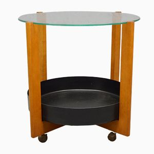 Mid-Century Circular Danish Teak Drinks Trolley