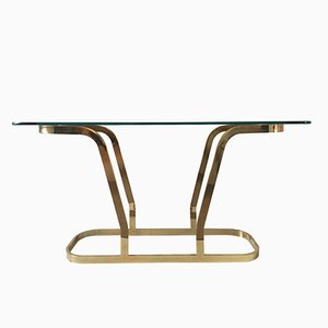 Hollywood Regency Brass and Glass Oval Console Table, 1970s