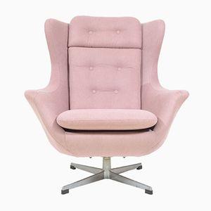 Czechoslovakian Shell Swivel Armchair in Light Pink, 1970s