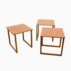 Vintage Teak Cube Nesting Tables by Kai Kristiansen for Vildbjerg Møbelfabrik, Set of 3