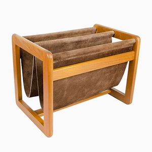 Vintage Teak & Leather Magazine Rack by Aksel Kjersgaard