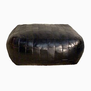 Vintage Black Leather Pouf