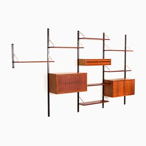 Royal System Wall Unit in Teak & Brass by Poul Cadovius for Cado, 1960s