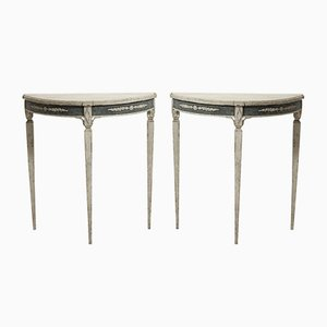 Schwedische Halbrunde Tische, 19. Jh., 2er Set