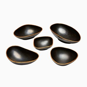 Tazze decorative Pebbles in bronzo e oro di Reda Amalou, set di 5