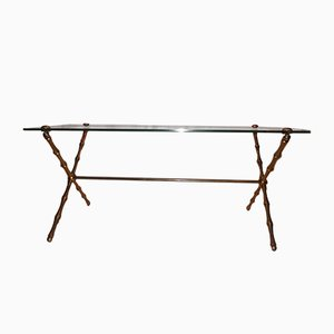 Vintage Bamboo Style Coffee Table in Brass from Maison Bagués
