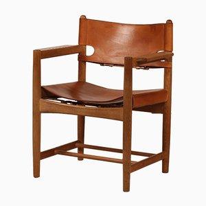 Dänischer Leder & Eiche 3238 Stuhl von Børge Mogensen für Fredericia, 1970 er