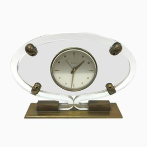 Horloge de Table Mid-Century en Plexiglas de Italora
