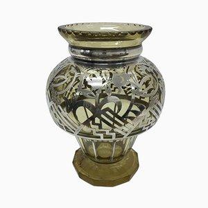 Art Deco Vase aus Sterling Silber und Glas, 1930er