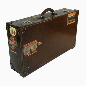 Antique Italian Leather Suitcase, 1950s