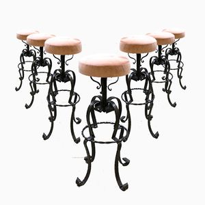 Vintage French Barstools, 1960s, Set of 7