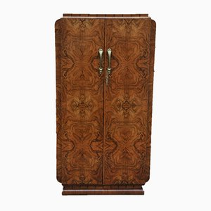Art Deco Wardrobe in Walnut Veneer and Mahogany, 1925