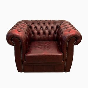 Vintage Red Leather Chesterfield Club Chair