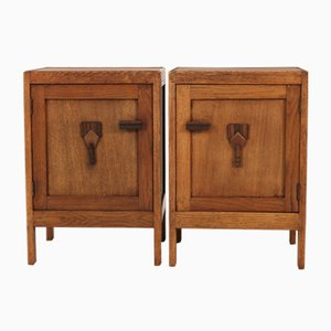 Vintage Dutch Nightstands, 1920s, Set of 2