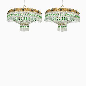 Italian Crystal Ceiling Lights, 1960s, Set of 2