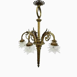 Vintage Italian Neo-Classical Bronze and Glass Chandelier, 1950s