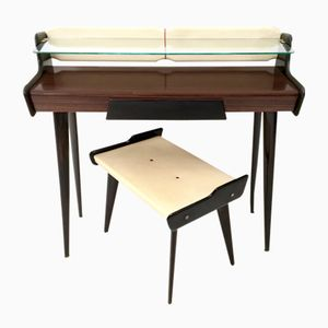 Mid-Century Italian Console Table & Pouf, 1950s