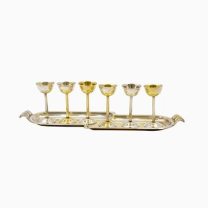 Vodka Glasses with Tray from Sandrik, 1930s, Set of 6