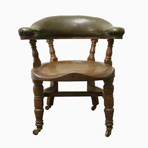 Viktorianischer Eichenholz & Leder Schreibtischstuhl