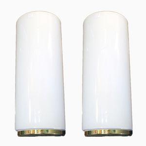 Lampade da parete in vetro lattimo, anni '70, set di 2