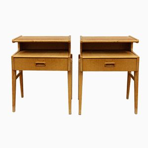 Mid-Century Oak Bedside Tables, 1950s, Set of 2