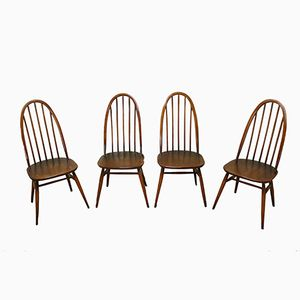 Vintage Highback Spindle Dining Chairs from Ercol, 1960, Set of 4