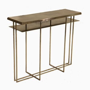 Table Console Cross Binate en Laiton par Richy Almond pour Novocastrian