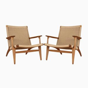 Oak Model CH25 Lounge Chairs by Hans Wegner for Carl Hansen and Son, 1950s, Set of 2