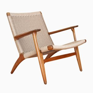 Oak Model CH25 Lounge Chair by Hans Wegner for Carl Hansen and Son, 1950s